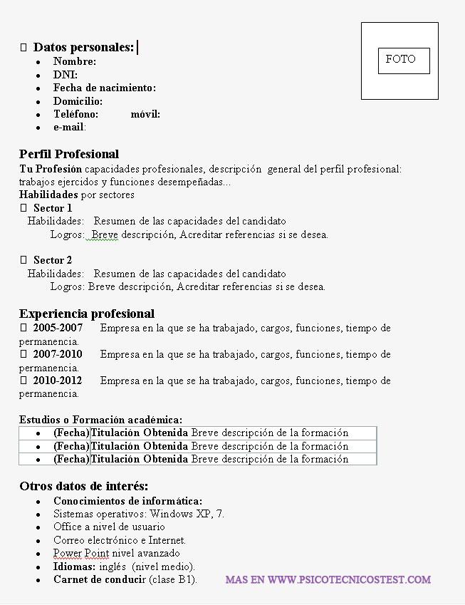 Ejemplos De Curriculum Vitae Con Plantillas Para Elaborar
